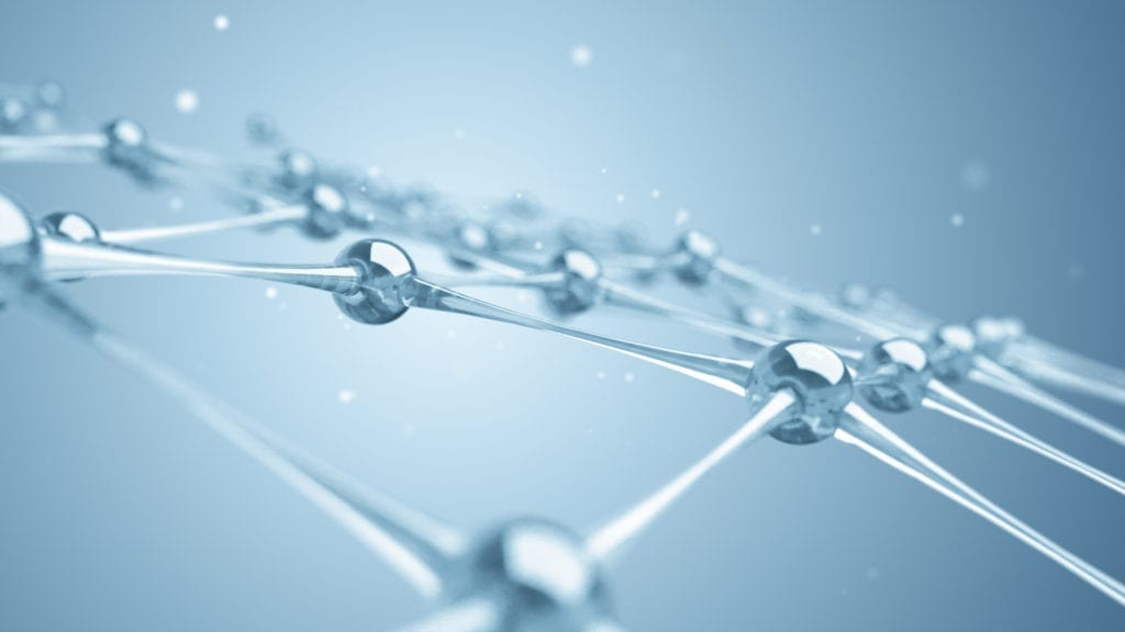 A network of molecules and atoms of glass and crystals constitute a single system