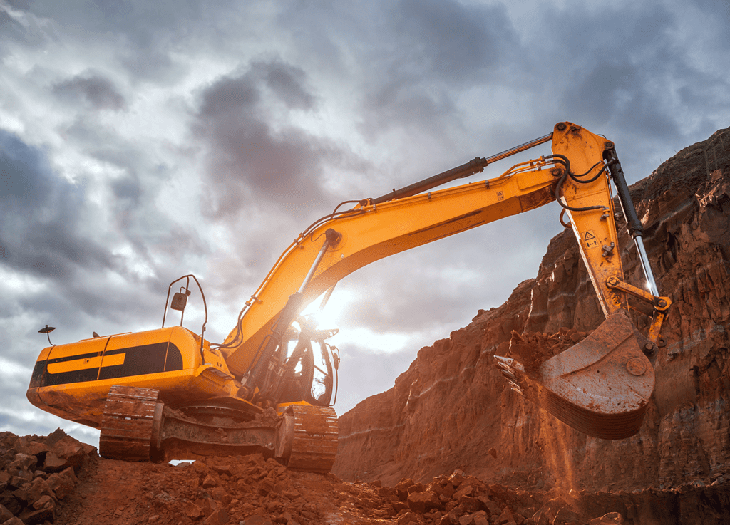 Close up of construction excavator